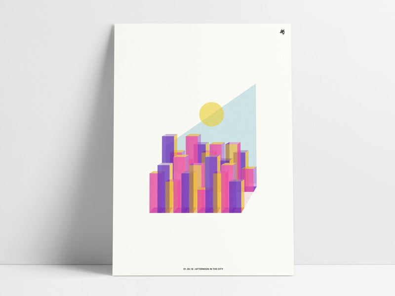 Afternoon in the City cityscape color art shapes geometric buildings abstract city afternoon print poster vintage
