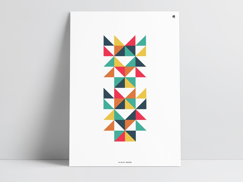 Triangles retro fineart shape illustration geometric modern print triangle poster design art abstract