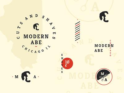 Modern Abe vintage identity seal lockup badge branding logo barbershop barber lincoln abraham abe