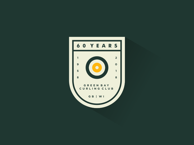 Green Bay Curling 60 Years design wisconsin typography logo lockup crest badge gb green bay years curling anniversary