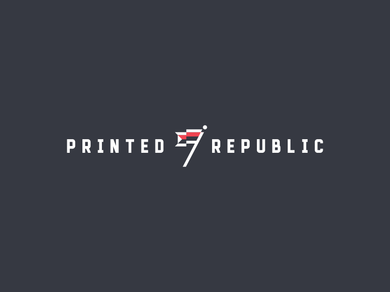 Printed Republic Logo logomark printed republic pennant mark logo identity icon flag design branding abstract