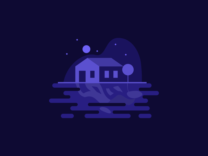 Lake House landscape architecture sky home icon water reflection vector night illustration house lake