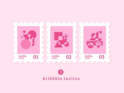 3x Dribbble Invites abstract geometric stamp dribbble invites dribbble invitations three join invitations invites dribbble 3x 3