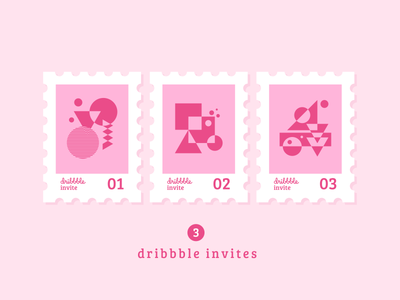3x Dribbble Invites abstract geometric stamp dribbble invites dribbble invitations three join invitations invites dribbble 3x 3