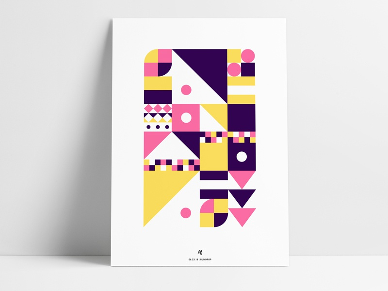 Abstract Poster IX pink yellow purple triangle circle square shapes retro print geometric poster abstract