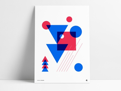 Abstract Red White Blue Poster retro poster july america blue white red triangle square circle geometric abstract
