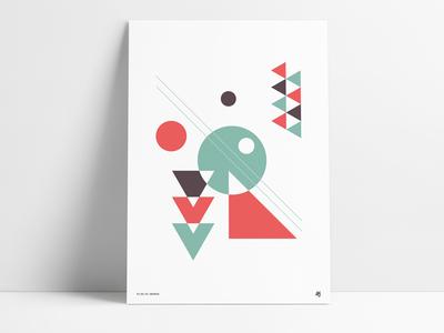 Vintage Retro Poster art shape throwback square circle triangle print poster geometric retro vintage abstract