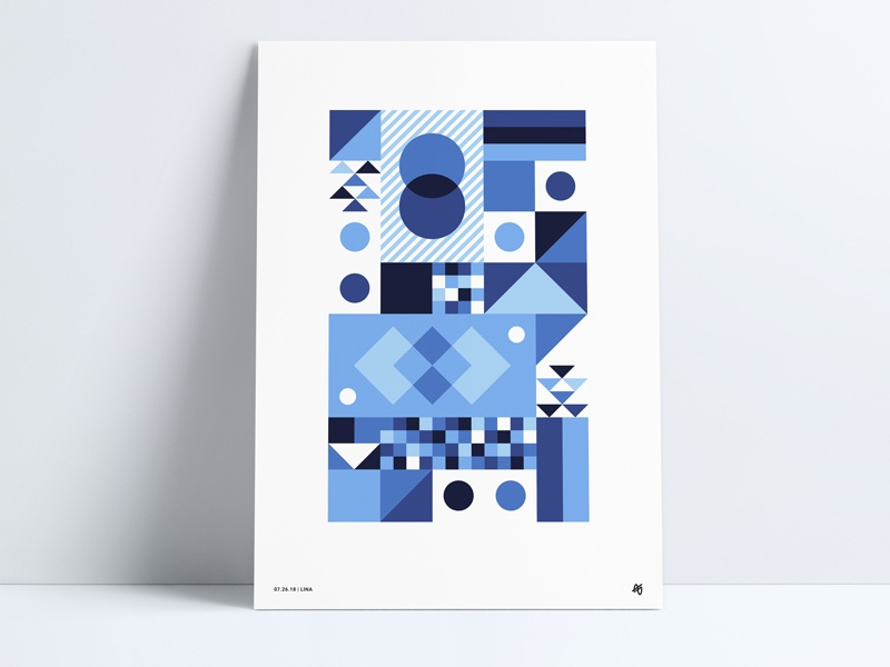 Blue Geometric Poster checkered shapes shades blue striped triangle diamond print poster geometric retro abstract