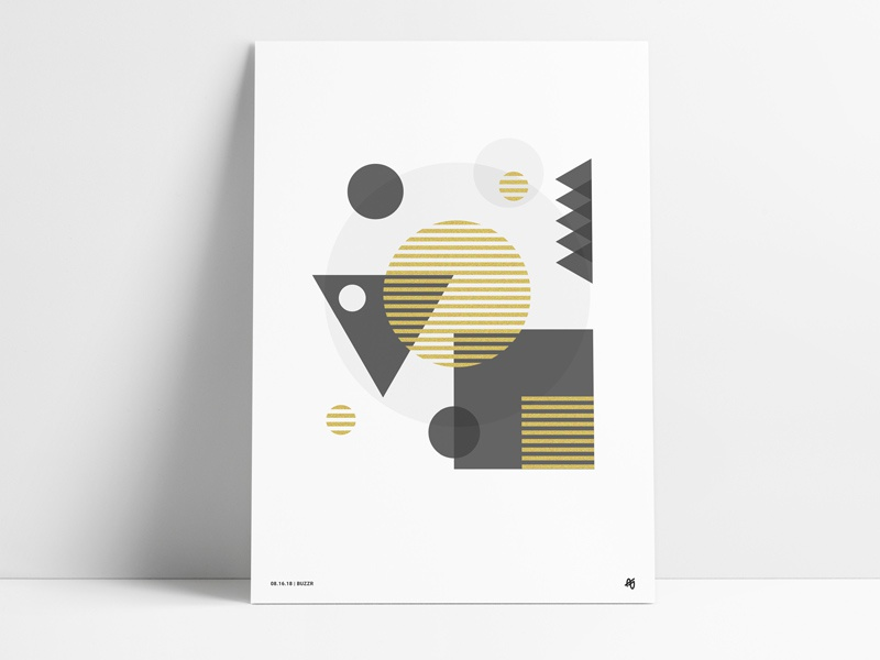 Geometric Metallic Gold Poster transparency foil design glitter printed print screen gold metallic abstract geometric poster