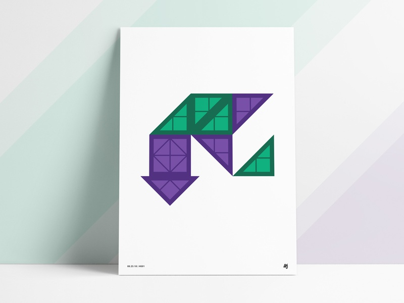 Magnet Shapes Poster arrow geometry art angles angled arrows green purple print magnetic magnets squares triangles abstract shapes poster geometric