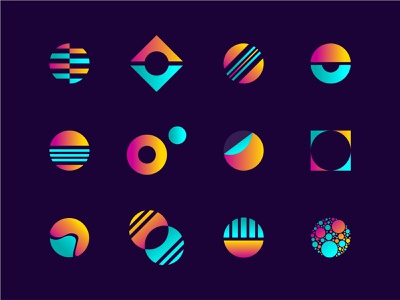 O My colorful lettering teal orange typography monogram branding lettermark identity illustration gradient type set letter abstract negative space icons marks logos o