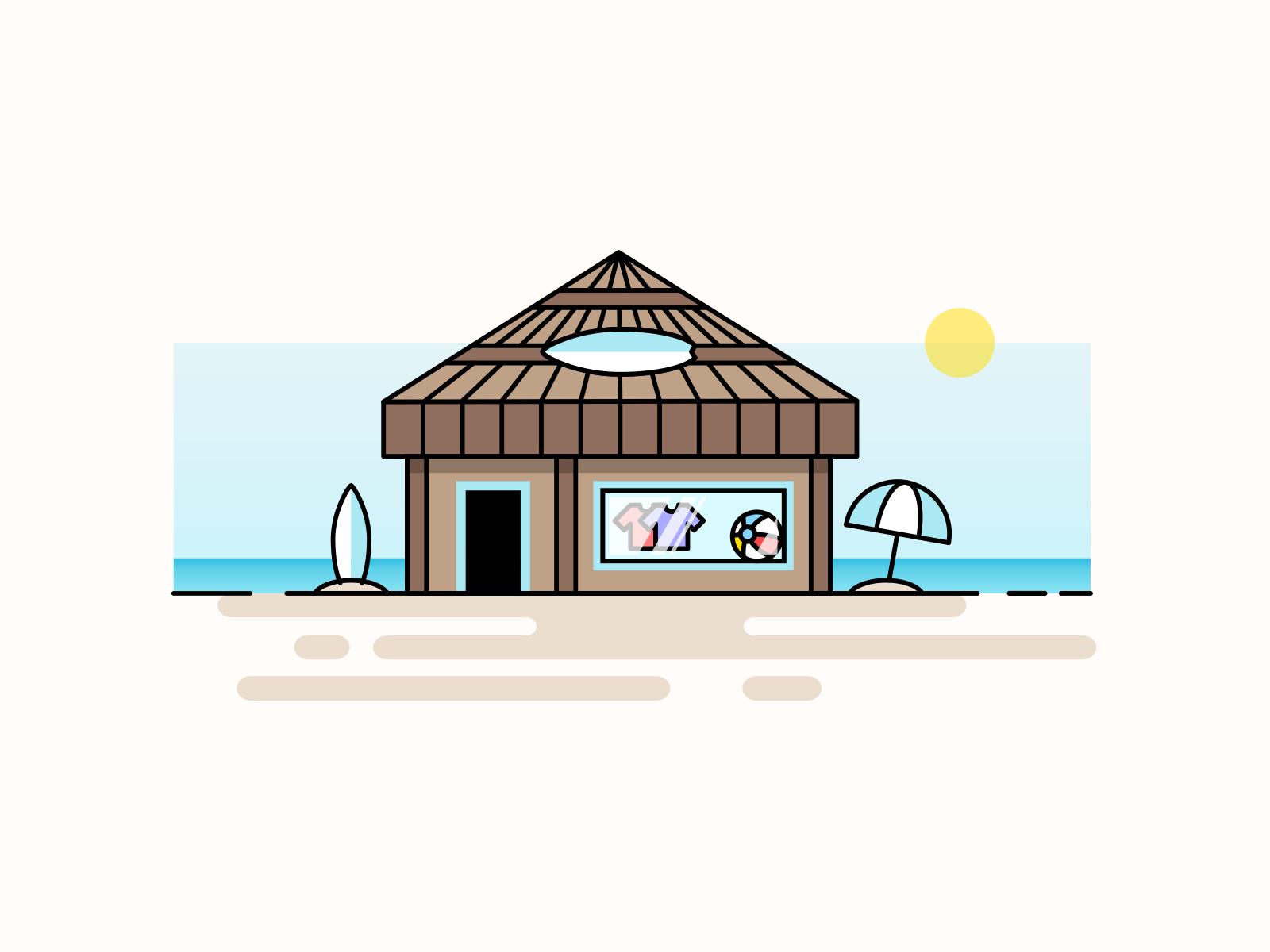 Beach Shop storefront season logo hut sand icon illustration shopping art line store umbrella water ocean surfing surf summer sun shop beach