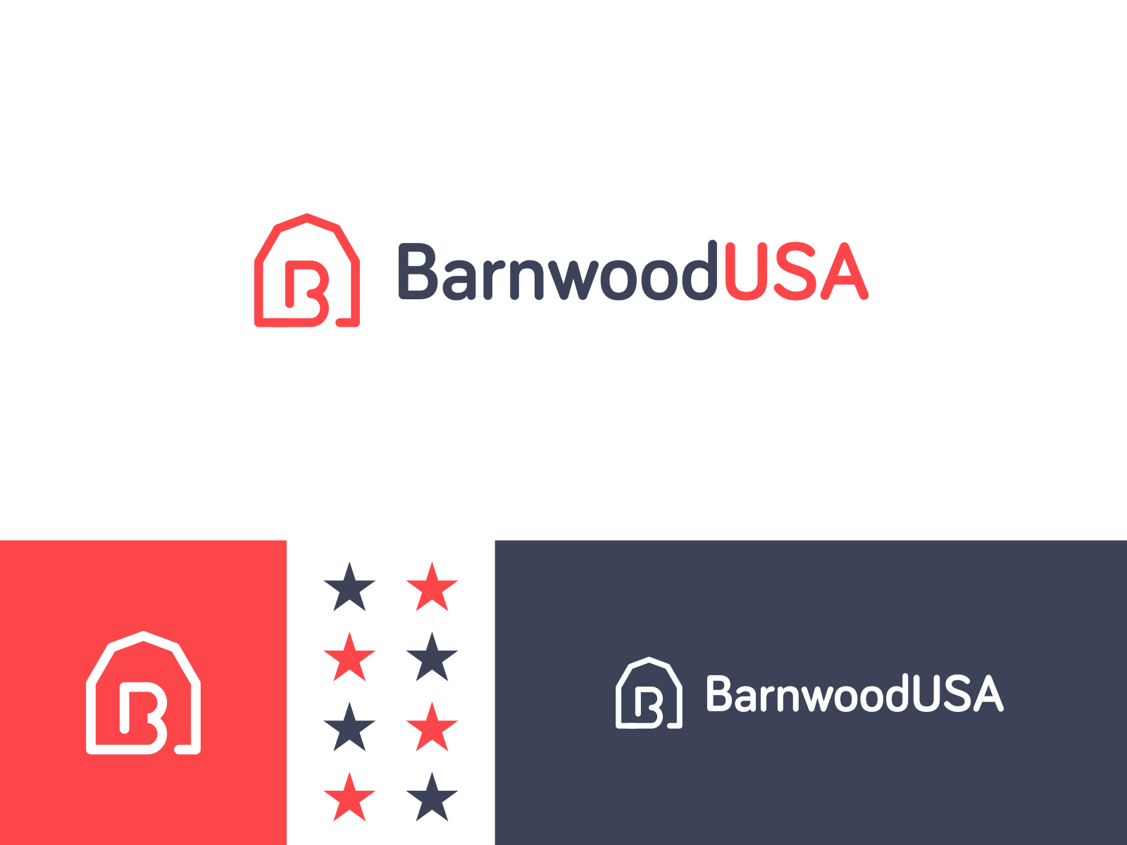Barnwood USA Logo - Unused 2 rustic wood united states unused mark branding letter icon logo farm lettermark b blue white red patriotic america usa barnwood barn