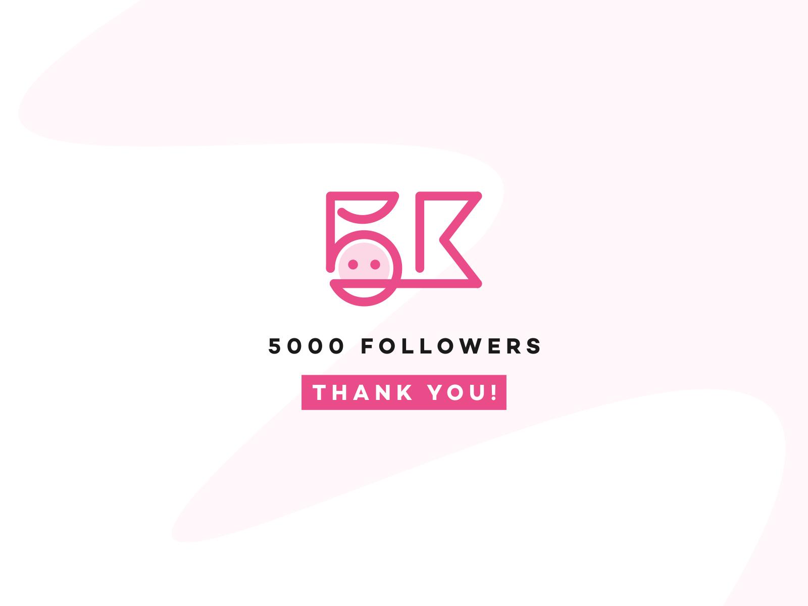 5k Followers likes appreciated appreciation follows followers thanks single line art line logo pink thousand five fans thank you dribbble 5000 k 5 5k
