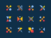 X's x lettermark letters lettering abstract icons type typography logos illustration branding colorful set monogram negative space flat gradient identity logoset multiple