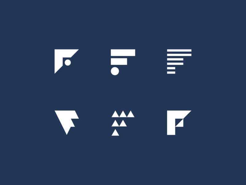 F Marks flat simple art line unique abstract font options multiple design icon logos mark letters lettermark branding icons marks logo f