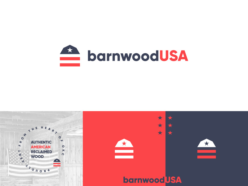 Barnwood USA Logo simple identity logo branding wood reclaimed flag stripes stars blue white red american america rustic barn okc oklahoma usa barnwood