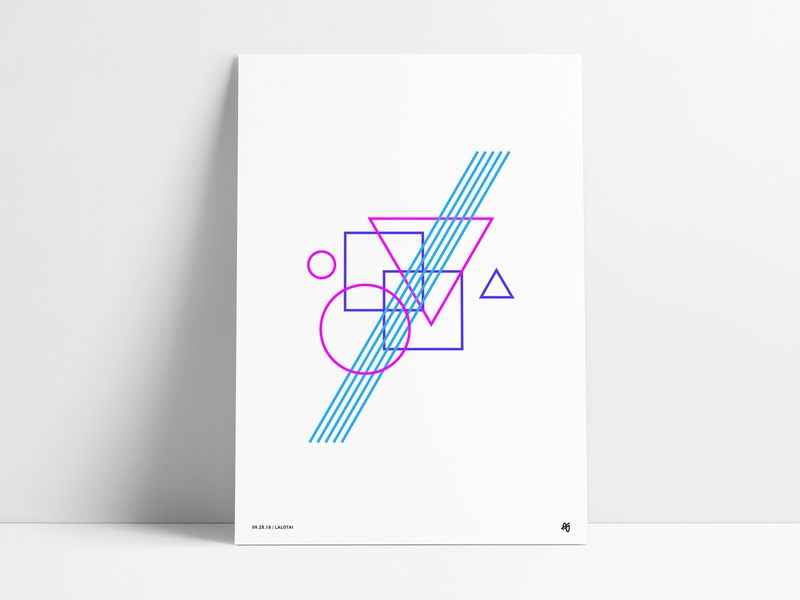 Retro Geometric Poster design shapes electric purple blue pink art colorful bright wall art print poster retro vintage neon circle square triangle abstract geometric