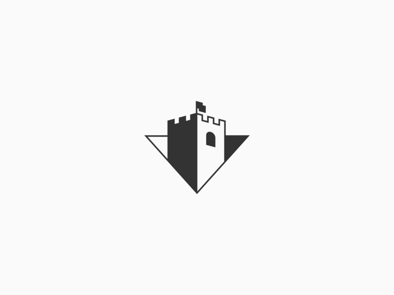 Castle single color one color protect protection camp base fort window illustration branding tower triangle simple negative space shadow icon mark logo flag castle