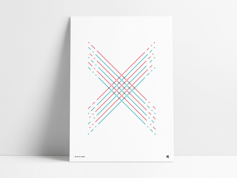 Line X Poster angled illustration aqua blue teal red striped letter shape retro modern fine art design abstract wall art art print poster line x