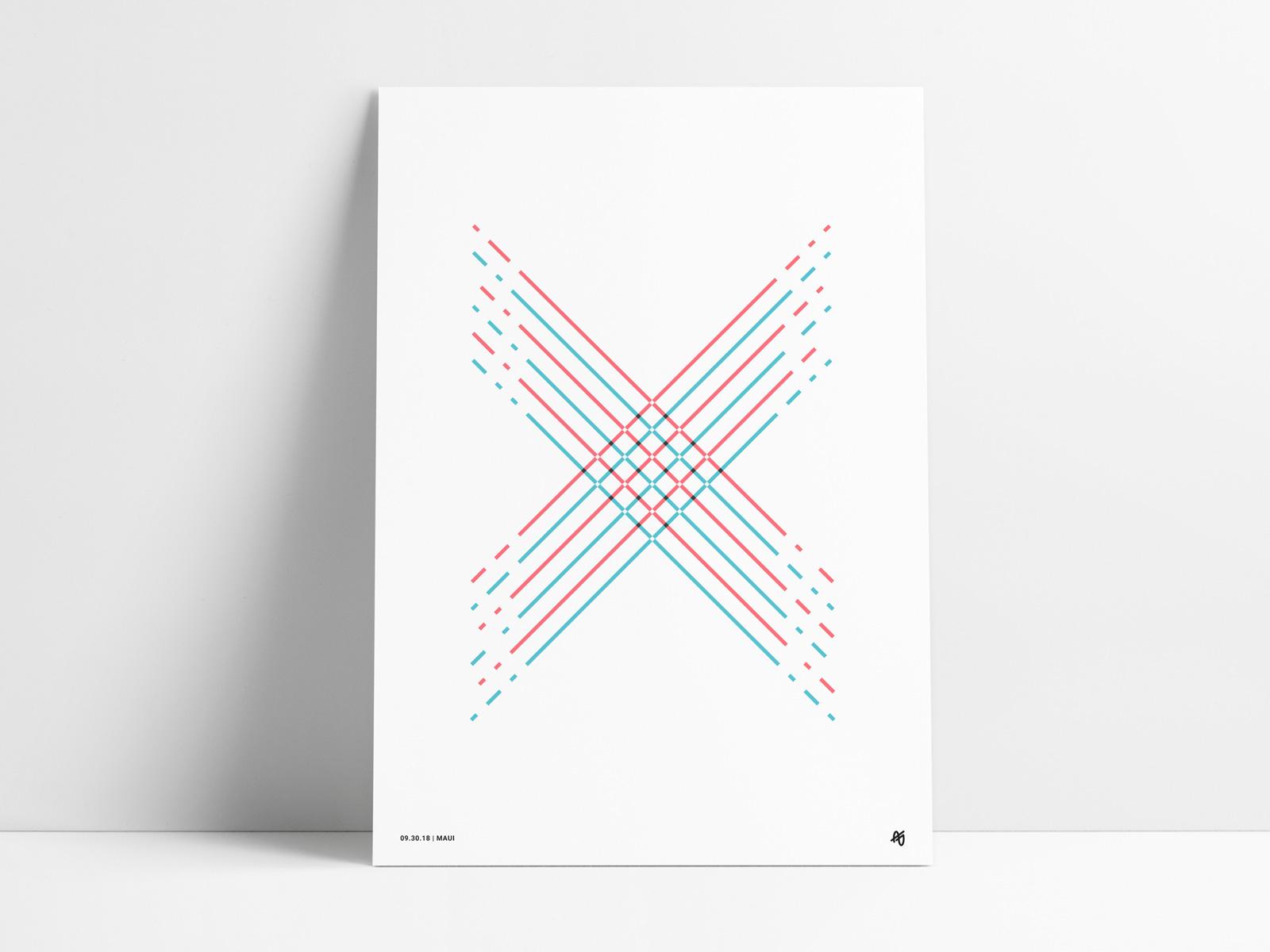 Line X Poster angled illustration aqua blue teal red striped letter shape retro modern fine art design abstract wall art art print poster line x