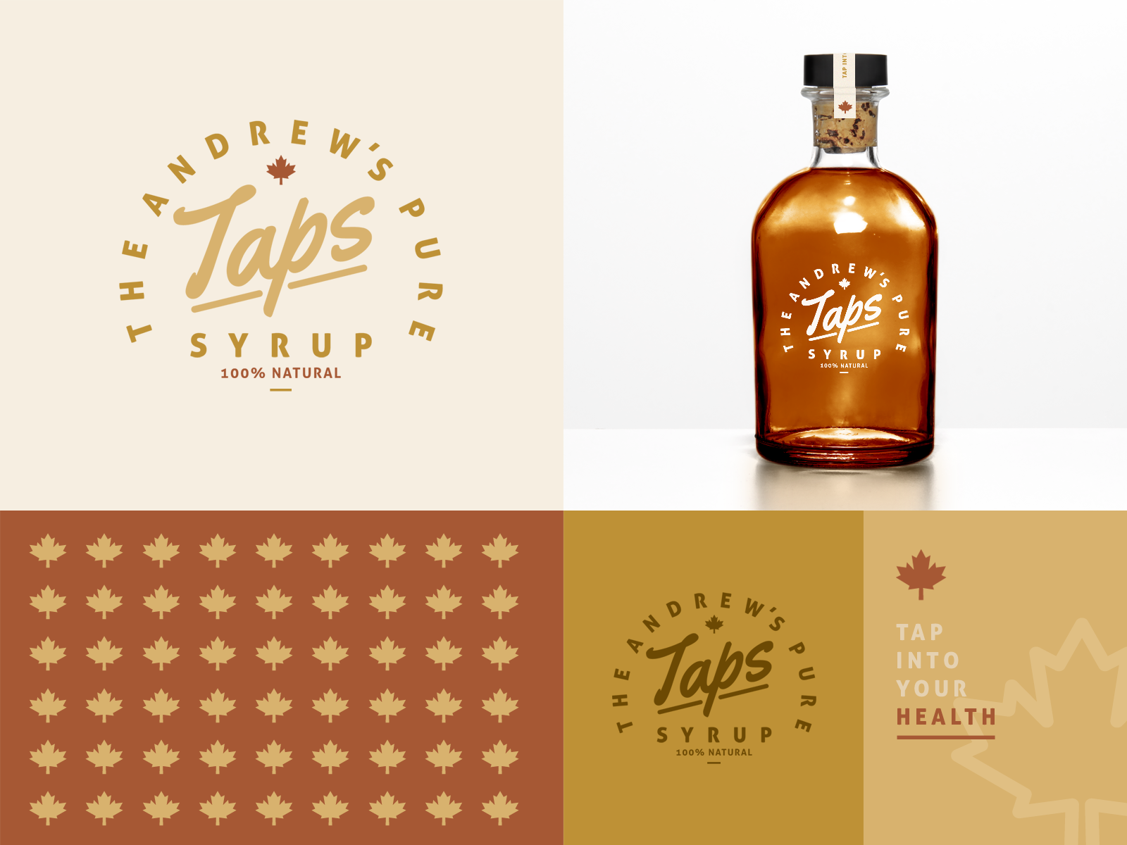 Taps Syrup - Branding package bottle product packaging local mock mockup exploration unused logo branding leaf maple tap health healthy natural syrup pure taps