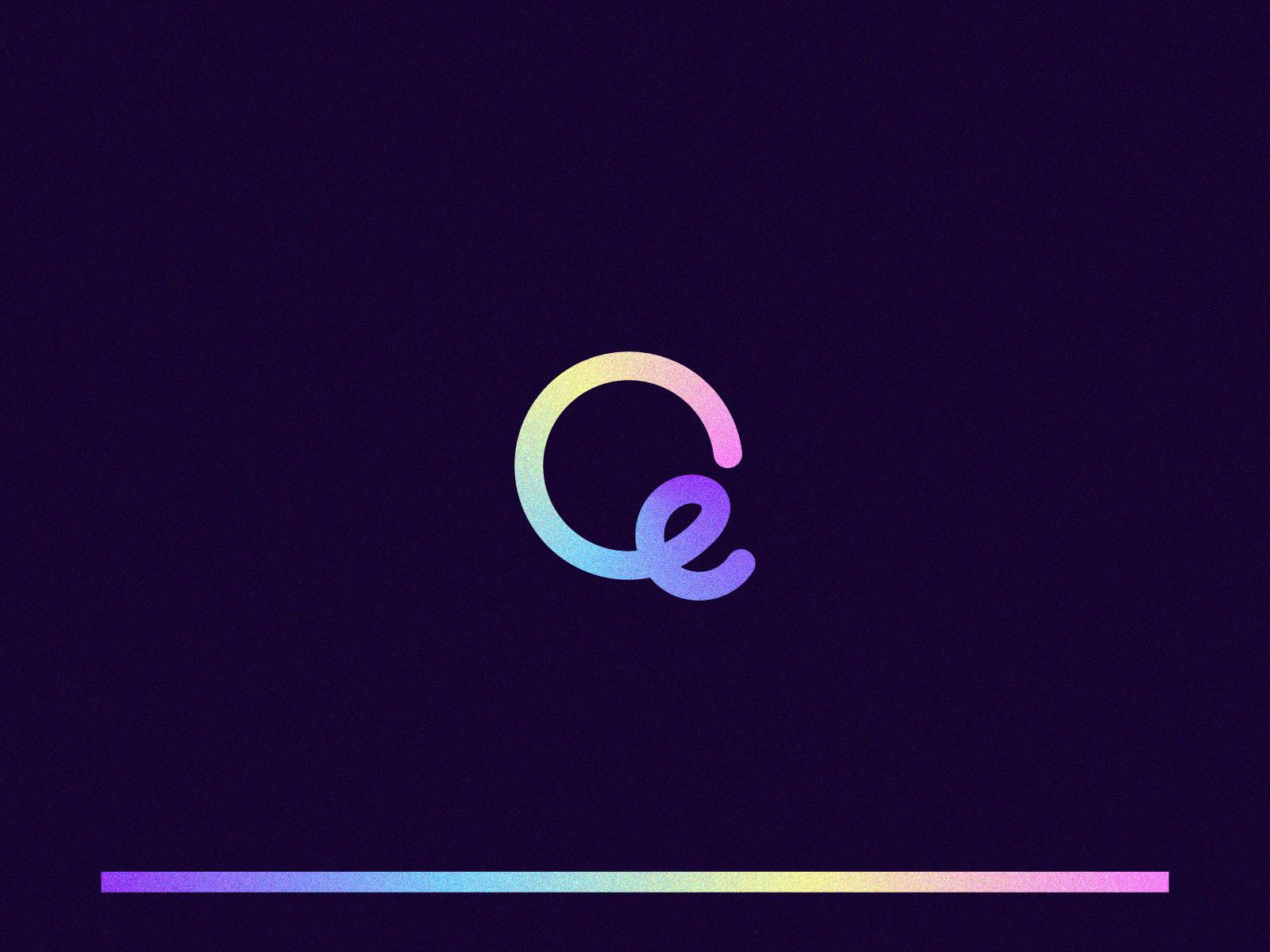 eQ Logo flowing unique creative illustration graphic colorful line gradient symbol lettermark letter design branding logomark logo mark q e qe eq