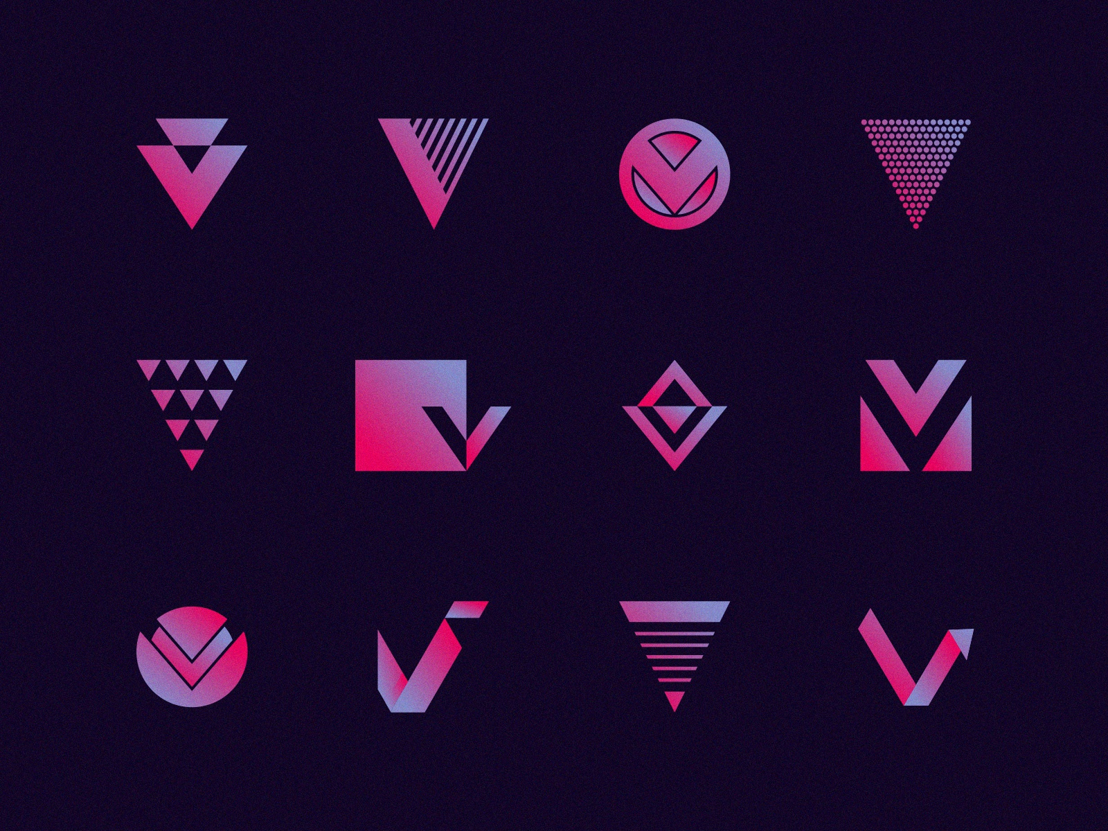 V's typography branding identity abstract purple designs gradient random various multiple logos illustration icon v logo logo monogram mark letter lettermark v