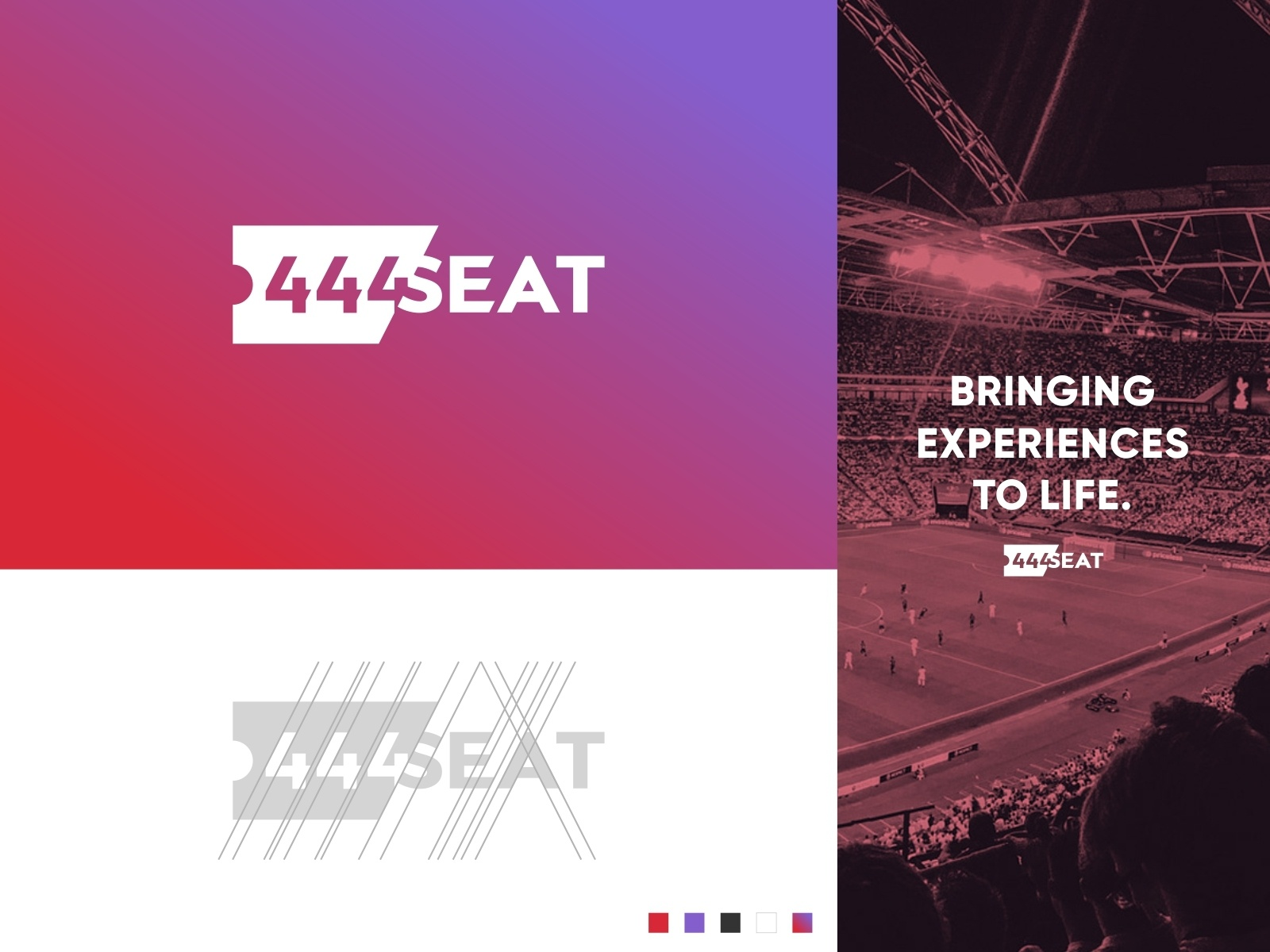444 SEAT Logo - Unused sporting event sports illustration creation consistent clean simple gradient angled angle negative space branding logo wordmark agency ticket 444seat seat 444
