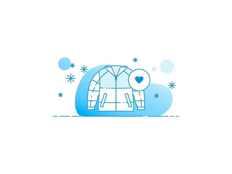 Coats Illustration drawing heart snowflake grain grainy gradient insurance design logo line icon illustration weather cold warm jacket snow winter coats coat