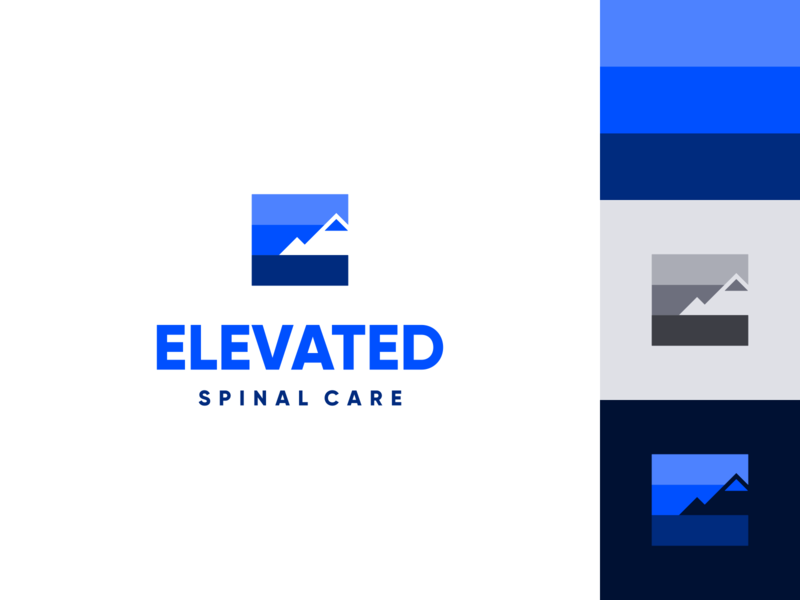 Elevated Spinal Care Logo care illustration branding mark logo doctor spine hill climb hiking peak mountain blue elevate elevated letter e abstract chiropractor chiropractic