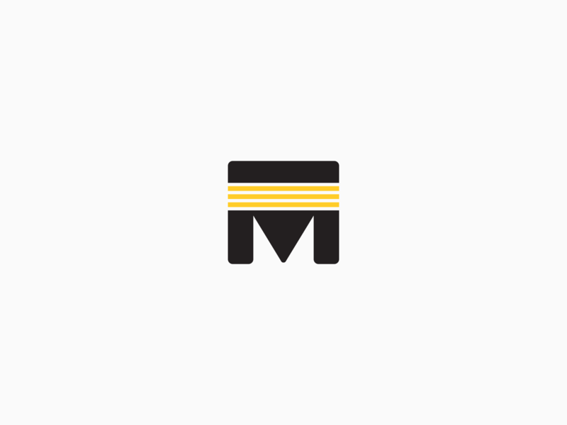 M Striped Mark Updated icon typography rebound pitt thick bold letter lettermark branding logomark pirates stripes striped stripe pennsylvania pittsburgh logo letter m m mark