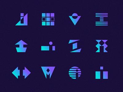 i's geometric art type letter lettermark mark identity vector logo grain retro abstract illustration icons logos marks letter i i gradients gradient