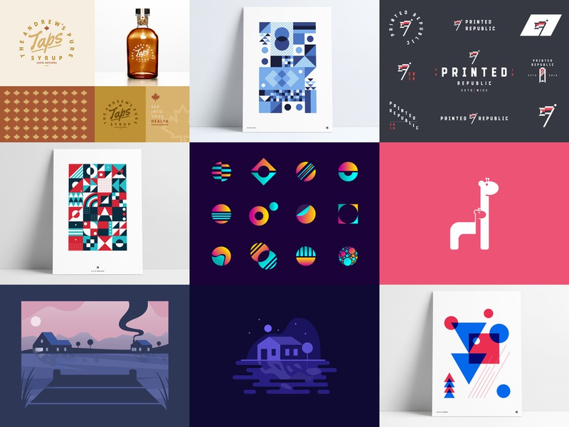 Top 9 of 2018 18 retro abstract geometric icon art mark vector logo design print poster branding illustration anthony agrib shots 2018 top top 9