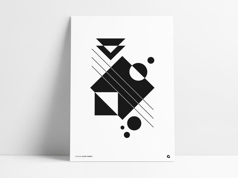 Black/White Geometric Poster shapes shape clean vintage simple retro white black negative space triangular square circle design wall art art agrib poster print geometric abstract