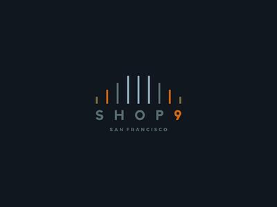 Shop 9 - San Francisco Logo store logo art line simple golden gate bridge cables bridge pillar illustration design 9 nine identity branding logo small business retail store shopping shop