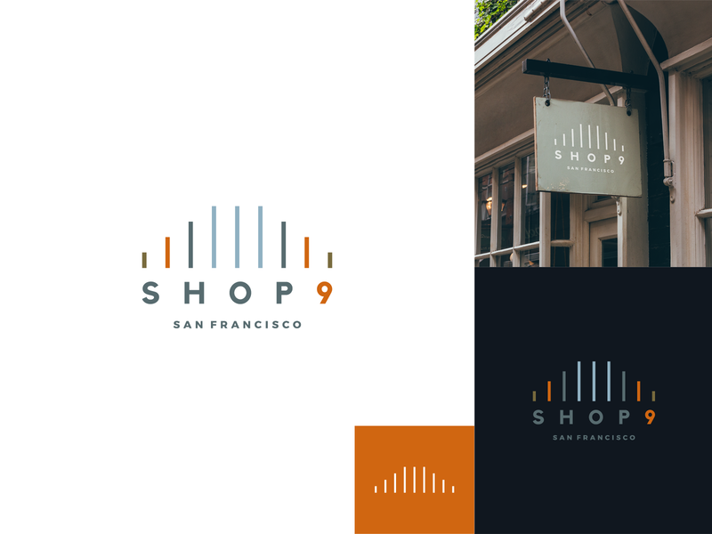 Shop 9 San Fran II retail store shopping art line illustration logomark mark icon branding suspension cables logo pillar bridge golden gate bridge san fran san francisco 9 shop