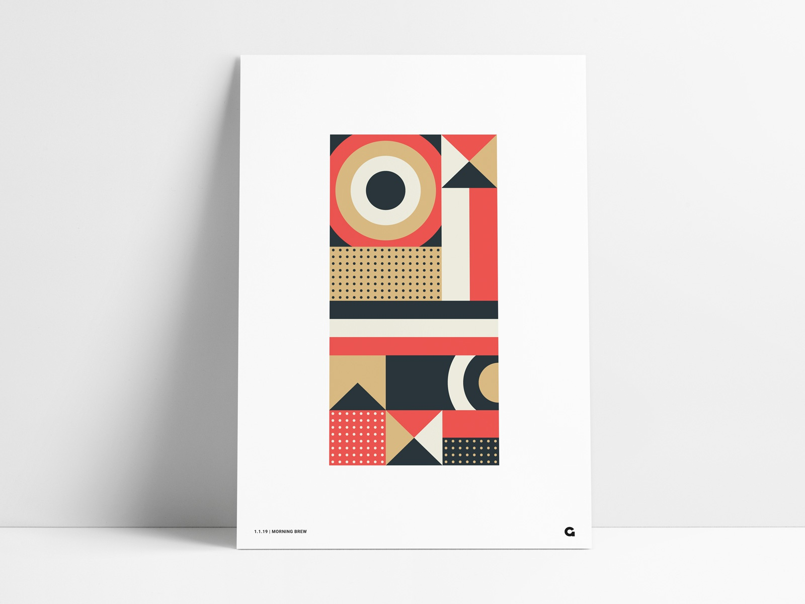 Abstract poster red navy gold
