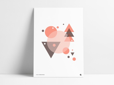 Rose Gold Inspired Poster series rebound graphic circular geometric illustration print poster abstract art artwork design brown tan circles triangles rose gold agrib geometric shapes wall art