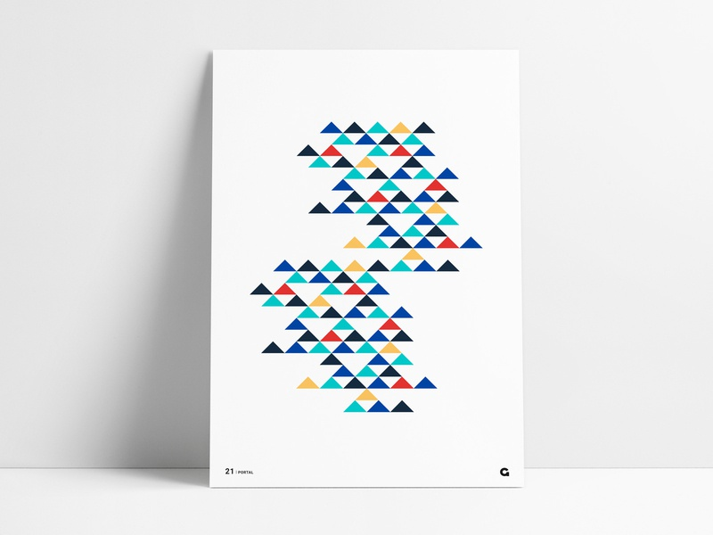 Negative Space Triangle Poster multiple space geometric illustration illustration unique pattern colorful agrib poster print wall art art design geometric art abstract triangles triangular triangle geometric negative space