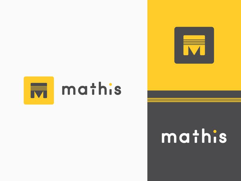 Mathis pt III unique font custom typography mark lettermark square logo pitt pittsburgh yellow agrib striped branding bold strong letter m m logo m mathis