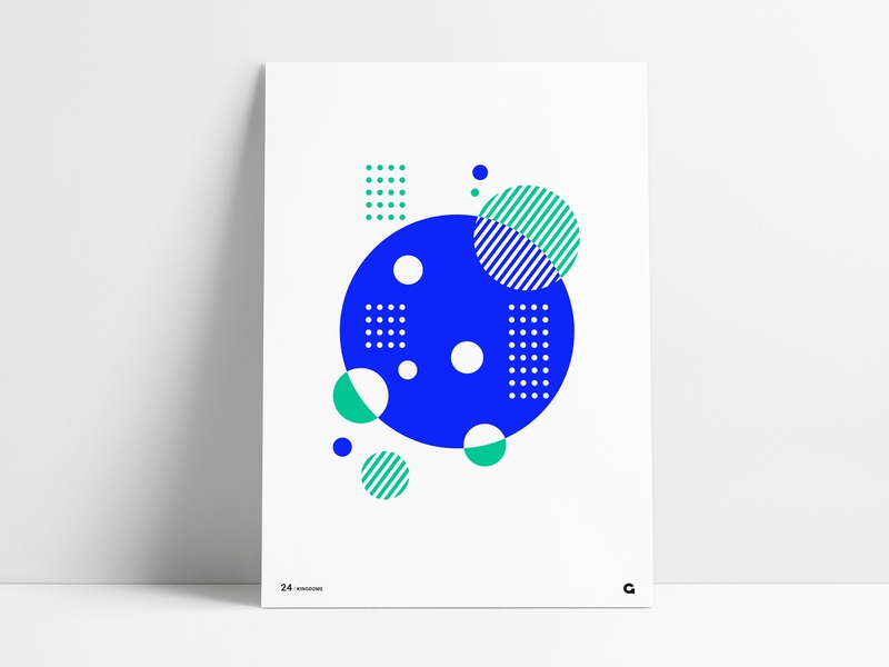 Poster 24 - Blue and Green striped dots green blue shape shapes agrib illustration geometric art geometric abstract art circular circles circle abstract art wall art art print poster art poster