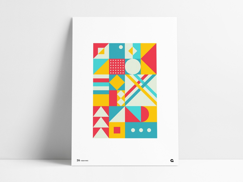 Poster 26 - Red, Yellow and Aqua poster challenge poster art art design yellow red agrib abstract art squares geometric print decoration poster wall art color colorful bright teal aqua abstract