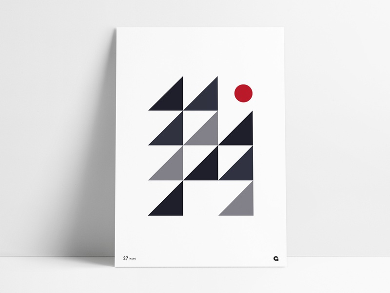 Poster 27 geometric poster a day poster art agrib triangles triangular triangle red gray grey blue print poster wall art minimalistic minimalism minimal art design abstract design abstract