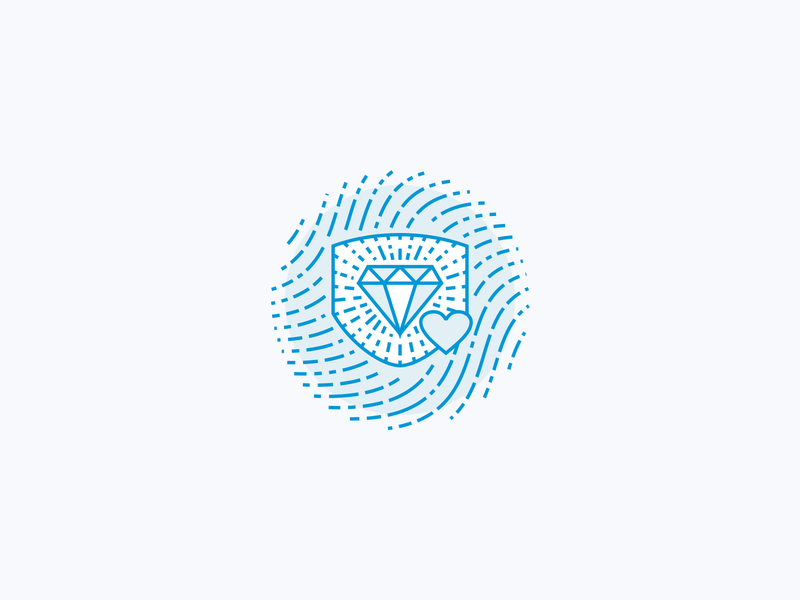 Fingerprint Shield Icon line art blue responsibility illustration icon line bling protection protect shield insurance charity giveback love heart jewelry diamond finger print fingerprint