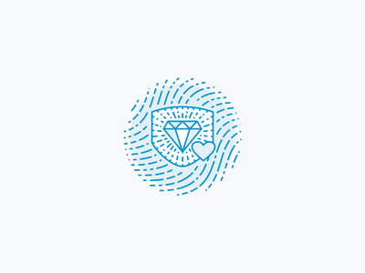Fingerprint Shield Icon line art blue responsibility illustration icon line bling protection protect shield insurance charity giveback love heart jewelry diamond finger print fingerprint