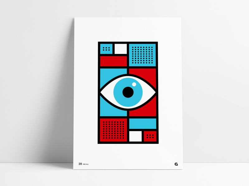 Poster 28 - See All pattern red blue art design illustration shapes abstract geometric agrib poster challenge poster a day eyeball retina vision see all eye wall art print poster