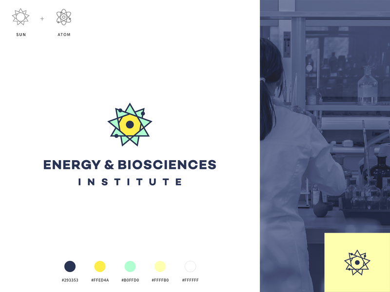EBI Logo - Atom & Sun identity chemistry science biosciences energy institute bioscience atom solar sun logo branding illustration abstract color bright bp logomark mark agrib