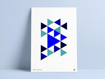 #29 - Blue Triangular Geometric Poster