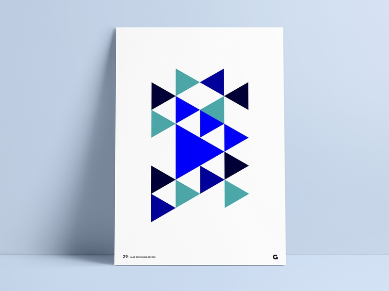 #29 - Blue Triangular Geometric Poster geometria illustration poster decoration blue negative space triangles poster art art design canvas canvas print wall art poster challenge poster collection poster a day agrib print geometric abstract